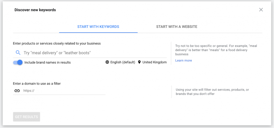 بر روی Discover new keywords کلیک کنید